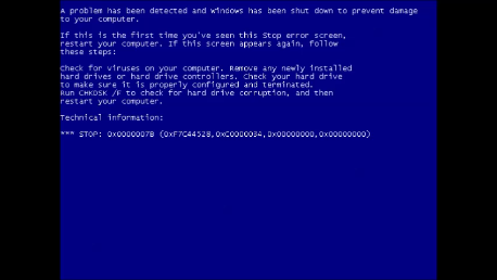 VMware Windows XP STOP:0x0000007B