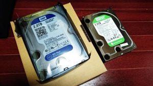 ハードディスク。WD Blue WD Green