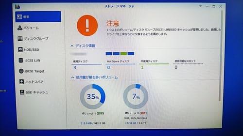 SYNOLOGY DS918+ ハードディスク劣化